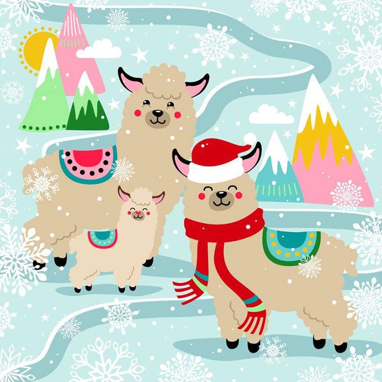 hippe-kerstkaart-met-alpaca-in-de-sneeuw